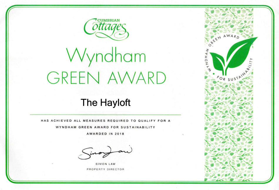 Hayloft Green Award Certificate