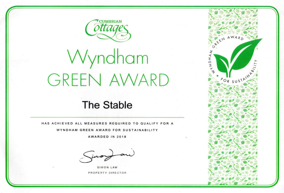 The Stable Green Award Certificate