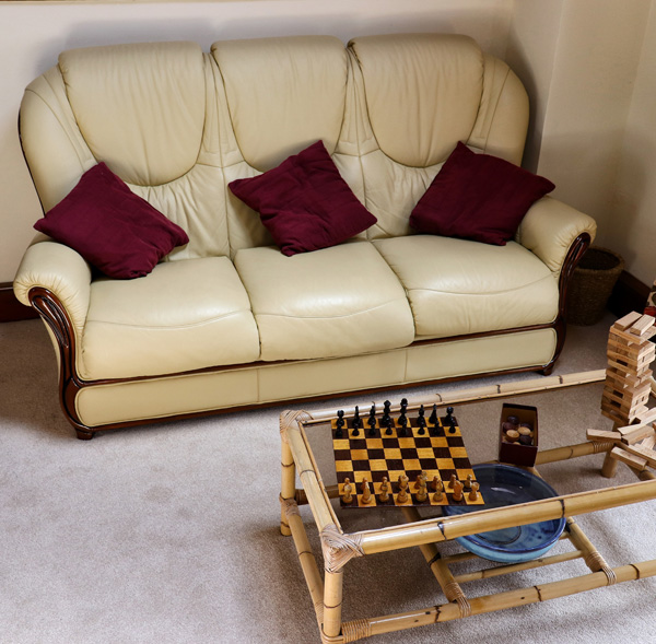 The Hayloft lounge and chess set