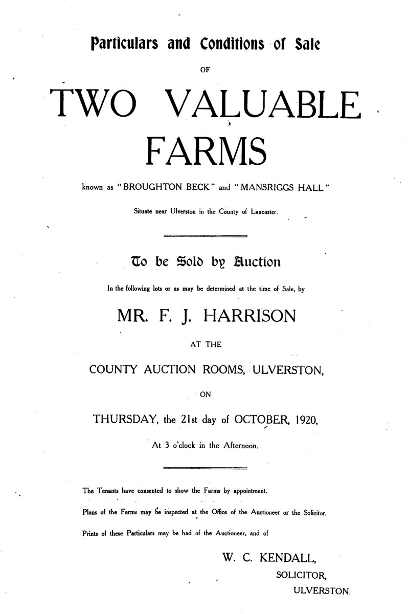 Two valuable farms for auction 1920